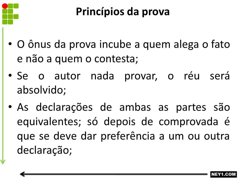 Princípios da prova O ônus da prova incube a quem alega o fato e não a quem o contesta; Se o autor nada provar, o réu será absolvido; As declarações d
