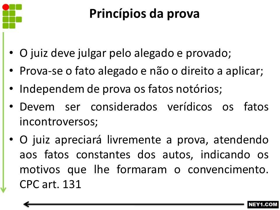 O juiz deve julgar pelo alegado e provado; Prova-se o fato alegado e não o direito a aplicar; Independem de prova os fatos notórios; Devem ser conside