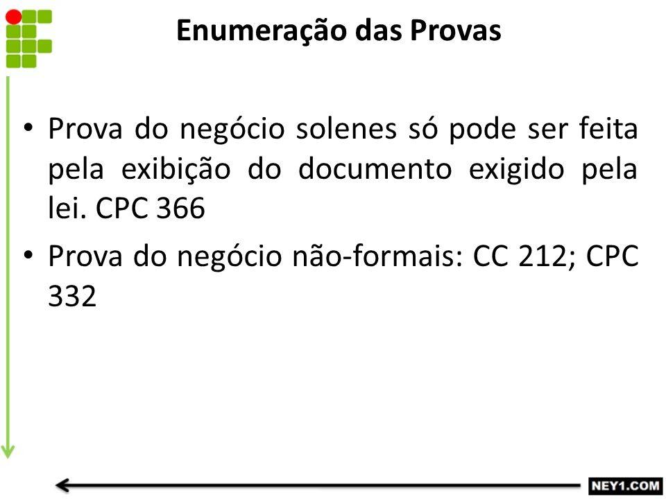 Enumeração das Provas Prova do negócio solenes só pode ser feita pela exibição do documento exigido pela lei. CPC 366 Prova do negócio não-formais: CC