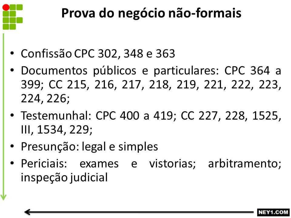Prova do negócio não-formais Confissão CPC 302, 348 e 363 Documentos públicos e particulares: CPC 364 a 399; CC 215, 216, 217, 218, 219, 221, 222, 223