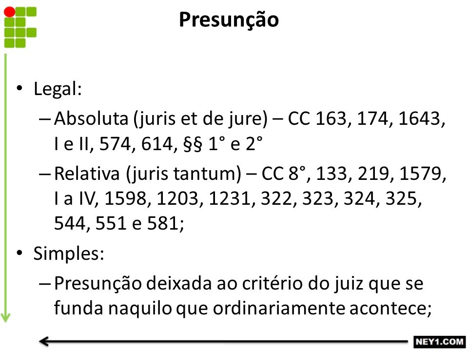 Presunção Legal: – Absoluta (juris et de jure) – CC 163, 174, 1643, I e II, 574, 614, §§ 1° e 2° – Relativa (juris tantum) – CC 8°, 133, 219, 1579, I