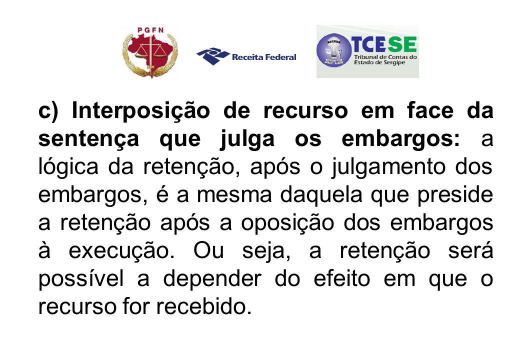 c) Interposição de recurso em face da sentença que julga os embargos: a lógica da retenção, após o julgamento dos embargos, é a mesma daquela que preside a retenção após a oposição dos embargos à execução.
