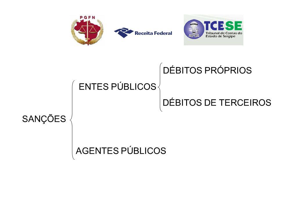 DÉBITOS PRÓPRIOS ENTES PÚBLICOS DÉBITOS DE TERCEIROS SANÇÕES AGENTES PÚBLICOS