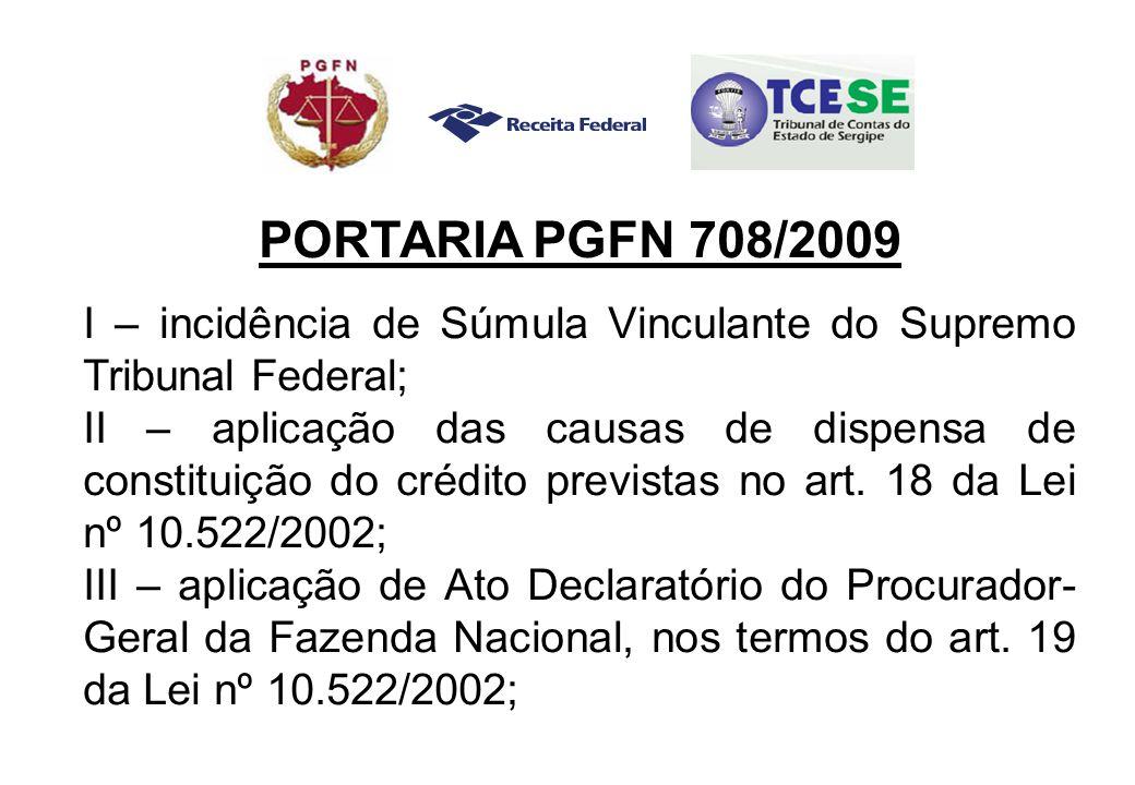 PORTARIA PGFN 708/2009 I – incidência de Súmula Vinculante do Supremo Tribunal Federal; II – aplicação das causas de dispensa de constituição do crédito previstas no art.