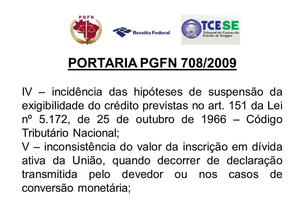 PORTARIA PGFN 708/2009 IV – incidência das hipóteses de suspensão da exigibilidade do crédito previstas no art.