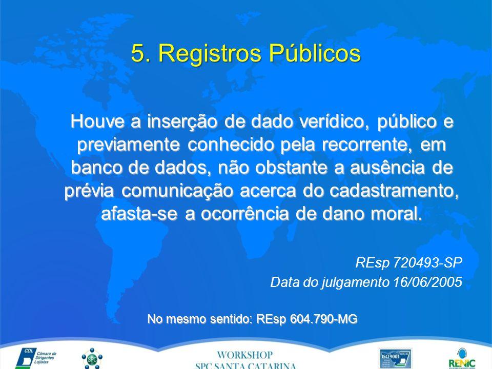 5. Registros Públicos Houve a inserção de dado verídico, público e previamente conhecido pela recorrente, em banco de dados, não obstante a ausência d