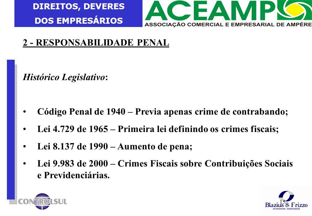 DIREITOS, DEVERES DOS EMPRESÁRIOS 15 2 - RESPONSABILIDADE PENAL Histórico Legislativo: Código Penal de 1940 – Previa apenas crime de contrabando; Lei