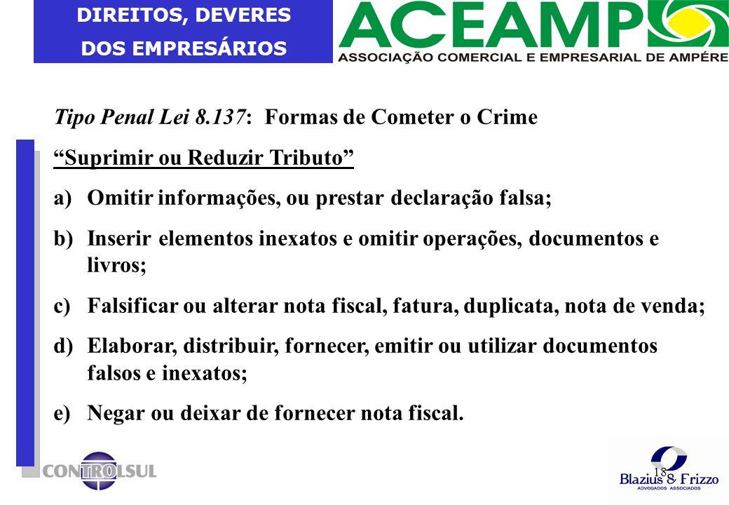 """DIREITOS, DEVERES DOS EMPRESÁRIOS 18 Tipo Penal Lei 8.137: Formas de Cometer o Crime """"Suprimir ou Reduzir Tributo"""" a)Omitir informações, ou prestar de"""