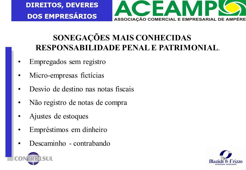 DIREITOS, DEVERES DOS EMPRESÁRIOS 29 SONEGAÇÕES MAIS CONHECIDAS RESPONSABILIDADE PENAL E PATRIMONIAL. Empregados sem registro Micro-empresas fictícias