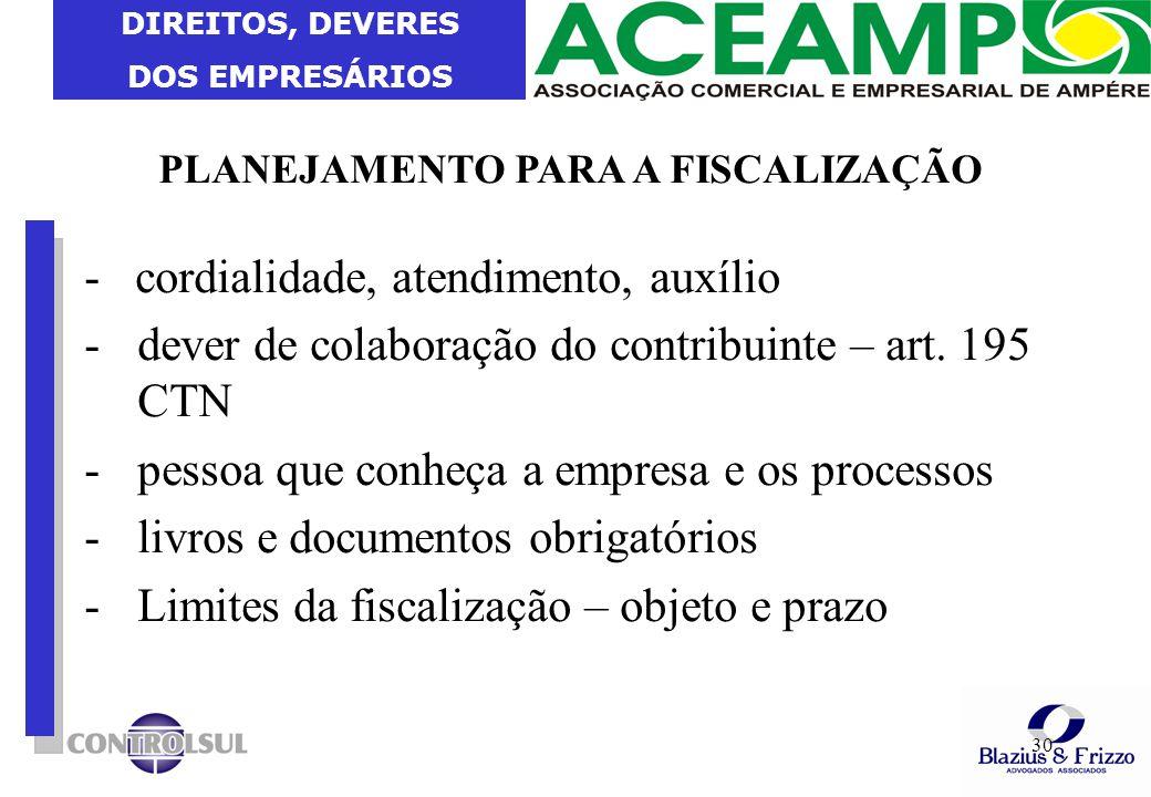 DIREITOS, DEVERES DOS EMPRESÁRIOS 30 PLANEJAMENTO PARA A FISCALIZAÇÃO - cordialidade, atendimento, auxílio -dever de colaboração do contribuinte – art