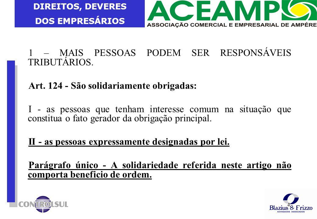 DIREITOS, DEVERES DOS EMPRESÁRIOS 5 1 – PRIMEIRA EXCEÇÃO A RESP.