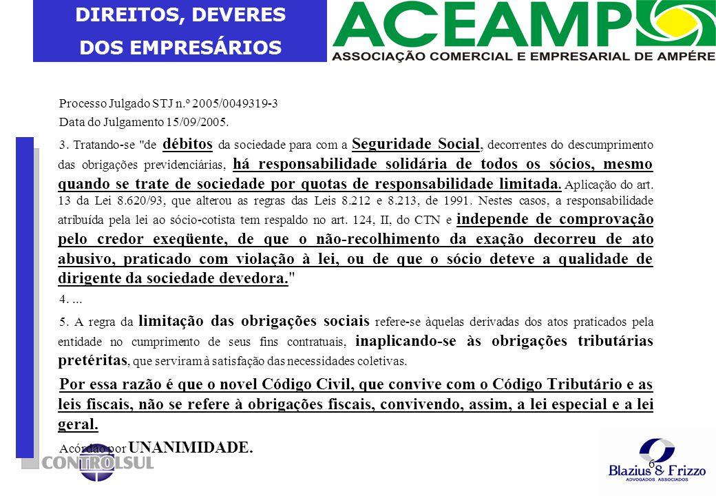 DIREITOS, DEVERES DOS EMPRESÁRIOS 6 Processo Julgado STJ n.º 2005/0049319-3 Data do Julgamento 15/09/2005. 3. Tratando-se