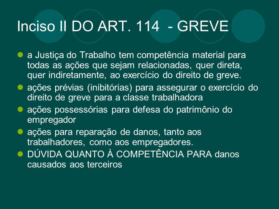 Inciso II DO ART. 114 - GREVE a Justiça do Trabalho tem competência material para todas as ações que sejam relacionadas, quer direta, quer indiretamen