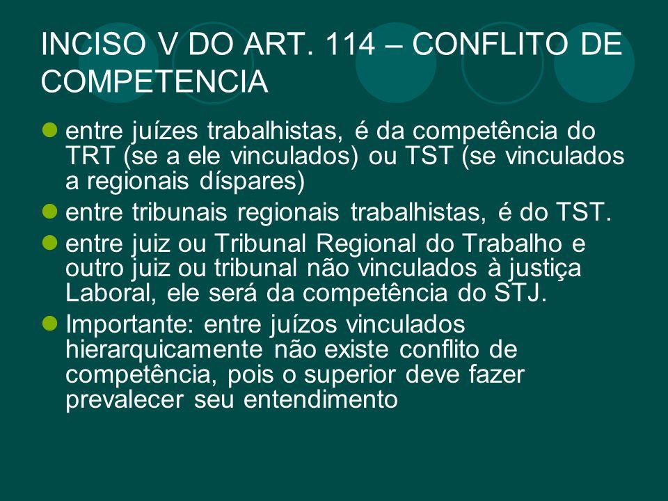 INCISO V DO ART. 114 – CONFLITO DE COMPETENCIA entre juízes trabalhistas, é da competência do TRT (se a ele vinculados) ou TST (se vinculados a region
