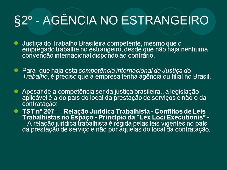 §2º - AGÊNCIA NO ESTRANGEIRO Justiça do Trabalho Brasileira competente, mesmo que o empregado trabalhe no estrangeiro, desde que não haja nenhuma conv
