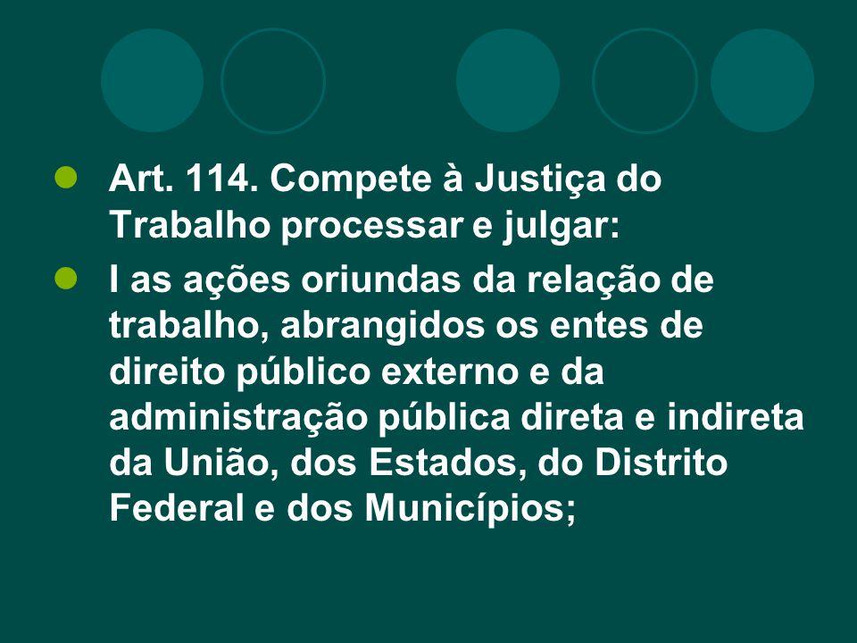 Inciso I DO ART.114 – RELAÇÕES DE TRABALHO Nada mudou com a EC n.