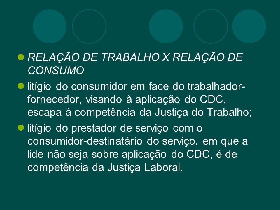 RELAÇÃO DE TRABALHO X RELAÇÃO DE CONSUMO litígio do consumidor em face do trabalhador- fornecedor, visando à aplicação do CDC, escapa à competência da