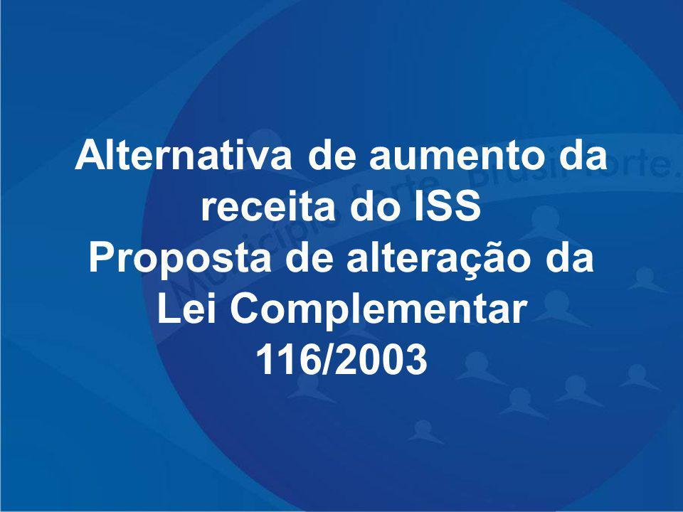 Alternativa de aumento da receita do ISS Proposta de alteração da Lei Complementar 116/2003