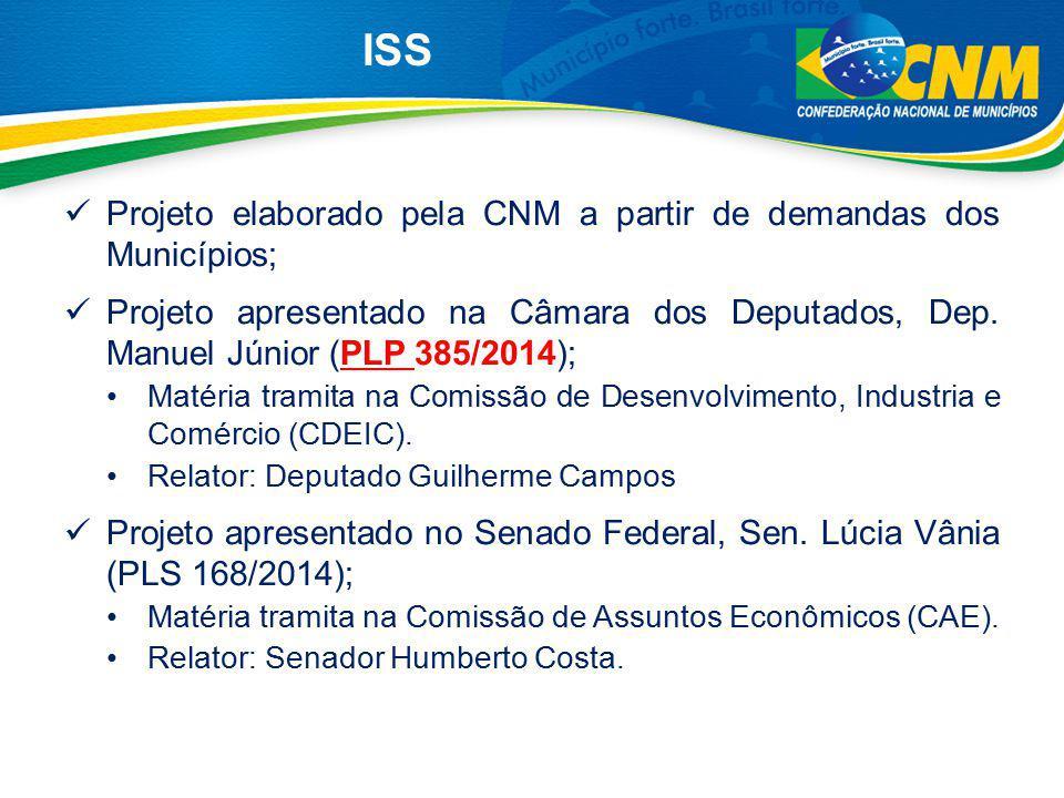 ISS Projeto elaborado pela CNM a partir de demandas dos Municípios; Projeto apresentado na Câmara dos Deputados, Dep. Manuel Júnior (PLP 385/2014); Ma