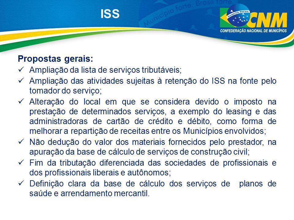 Propostas gerais: Ampliação da lista de serviços tributáveis; Ampliação das atividades sujeitas à retenção do ISS na fonte pelo tomador do serviço; Al