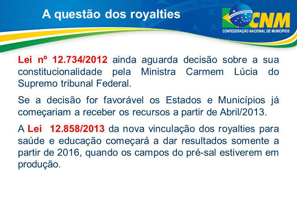 Lei nº 12.734/2012 ainda aguarda decisão sobre a sua constitucionalidade pela Ministra Carmem Lúcia do Supremo tribunal Federal. Se a decisão for favo