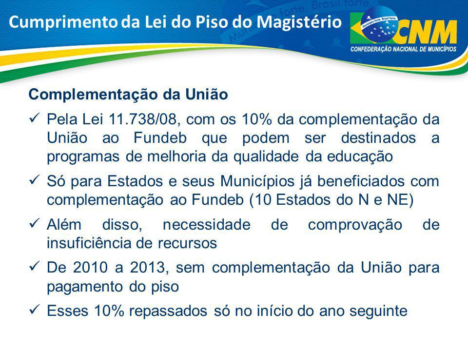 Complementação da União Pela Lei 11.738/08, com os 10% da complementação da União ao Fundeb que podem ser destinados a programas de melhoria da qualid