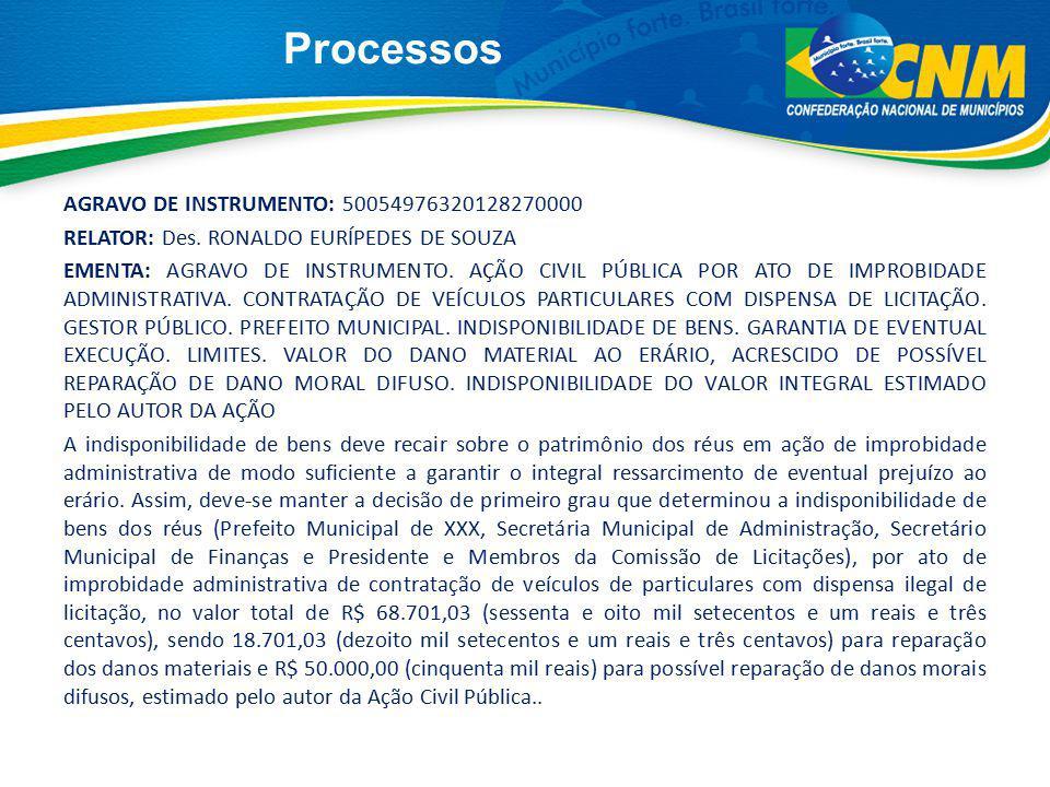 Processos AGRAVO DE INSTRUMENTO: 50054976320128270000 RELATOR: Des. RONALDO EURÍPEDES DE SOUZA EMENTA: AGRAVO DE INSTRUMENTO. AÇÃO CIVIL PÚBLICA POR A