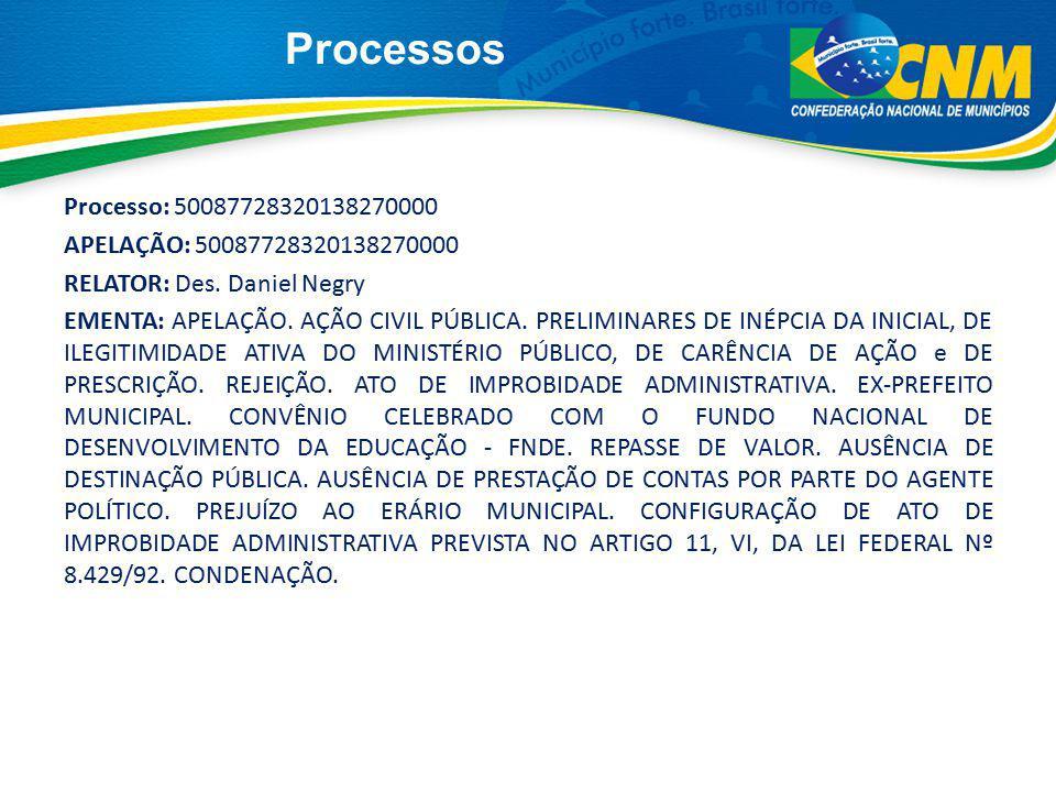 Processos Processo: 50087728320138270000 APELAÇÃO: 50087728320138270000 RELATOR: Des. Daniel Negry EMENTA: APELAÇÃO. AÇÃO CIVIL PÚBLICA. PRELIMINARES