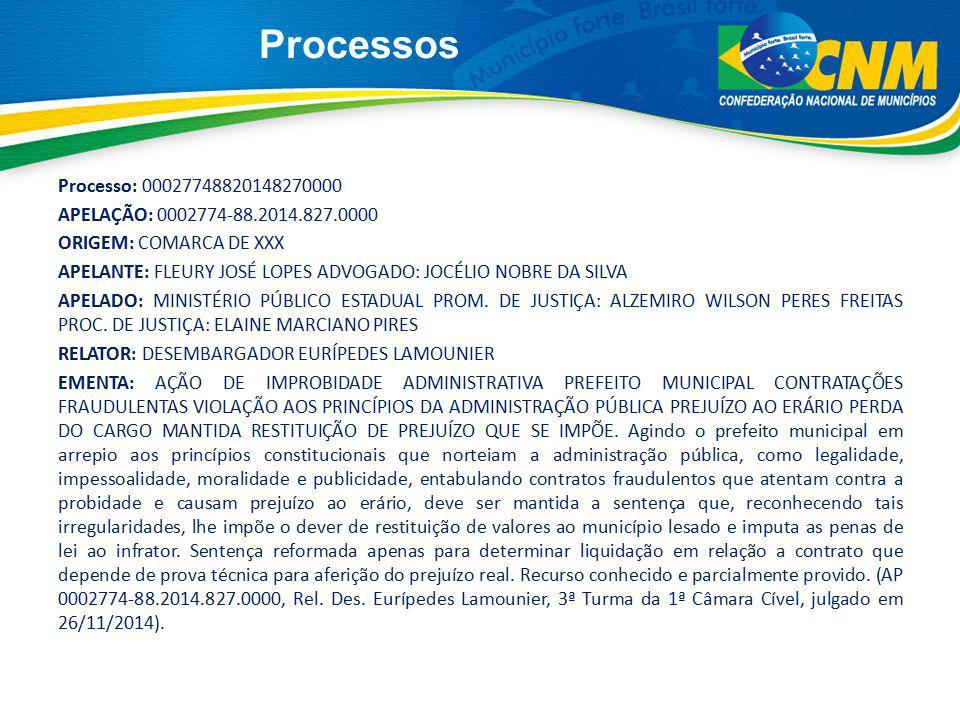 Processos Processo: 00027748820148270000 APELAÇÃO: 0002774-88.2014.827.0000 ORIGEM: COMARCA DE XXX APELANTE: FLEURY JOSÉ LOPES ADVOGADO: JOCÉLIO NOBRE