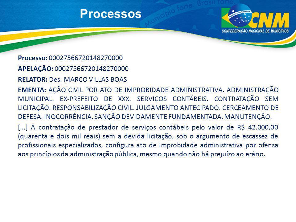 Processos Processo: 00027566720148270000 APELAÇÃO: 00027566720148270000 RELATOR: Des. MARCO VILLAS BOAS EMENTA: AÇÃO CIVIL POR ATO DE IMPROBIDADE ADMI