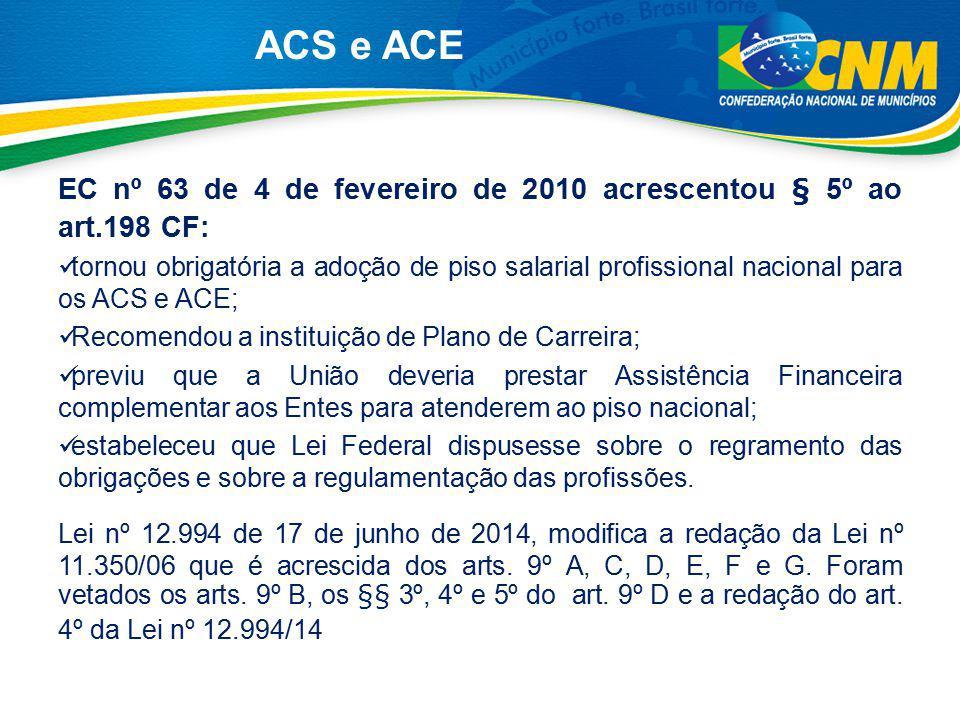 ACS e ACE EC nº 63 de 4 de fevereiro de 2010 acrescentou § 5º ao art.198 CF: tornou obrigatória a adoção de piso salarial profissional nacional para o