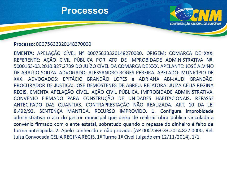 Processos Processo: 00075633320148270000 EMENTA: APELAÇÃO CÍVEL Nº 00075633320148270000. ORIGEM: COMARCA DE XXX. REFERENTE: AÇÃO CIVIL PÚBLICA POR ATO