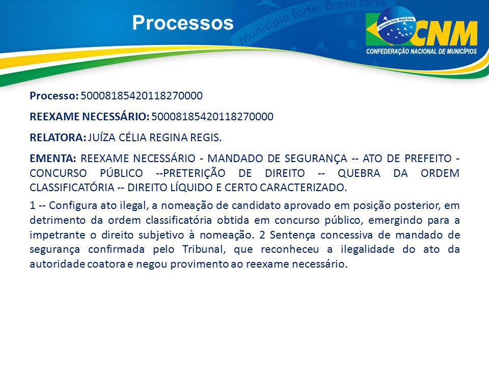 Processos Processo: 50008185420118270000 REEXAME NECESSÁRIO: 50008185420118270000 RELATORA: JUÍZA CÉLIA REGINA REGIS. EMENTA: REEXAME NECESSÁRIO - MAN