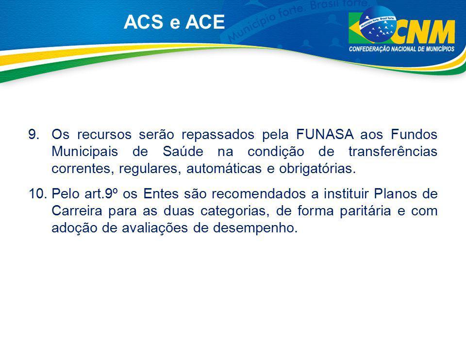9.Os recursos serão repassados pela FUNASA aos Fundos Municipais de Saúde na condição de transferências correntes, regulares, automáticas e obrigatóri
