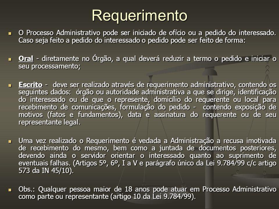 Requerimento O Processo Administrativo pode ser iniciado de ofício ou a pedido do interessado.