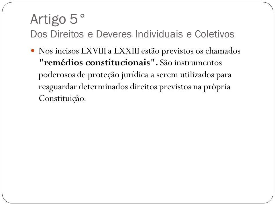 Artigo 5° Dos Direitos e Deveres Individuais e Coletivos Nos incisos LXVIII a LXXIII estão previstos os chamados