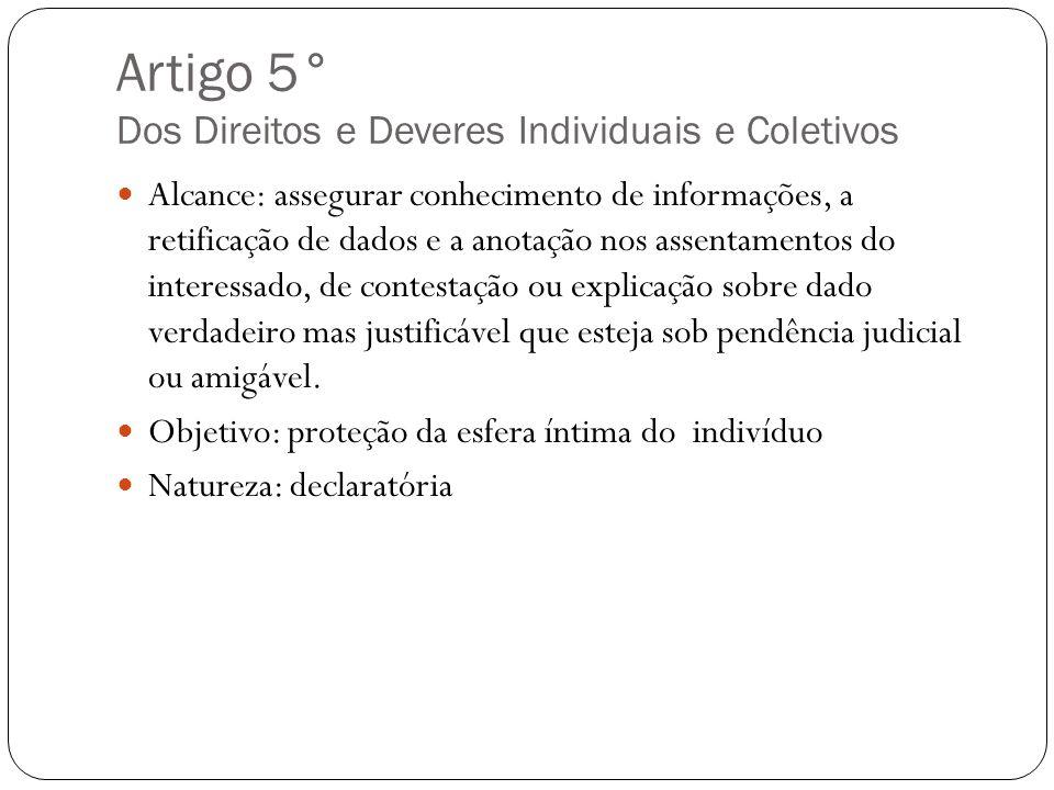 Artigo 5° Dos Direitos e Deveres Individuais e Coletivos Alcance: assegurar conhecimento de informações, a retificação de dados e a anotação nos assen