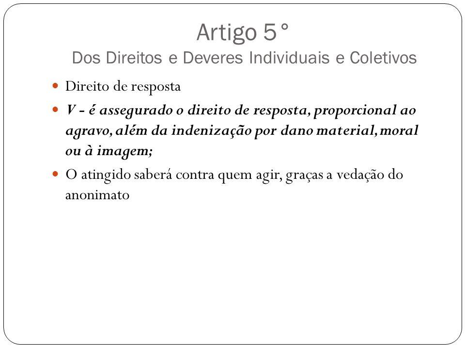 Artigo 5° Dos Direitos e Deveres Individuais e Coletivos Direito de resposta V - é assegurado o direito de resposta, proporcional ao agravo, além da i
