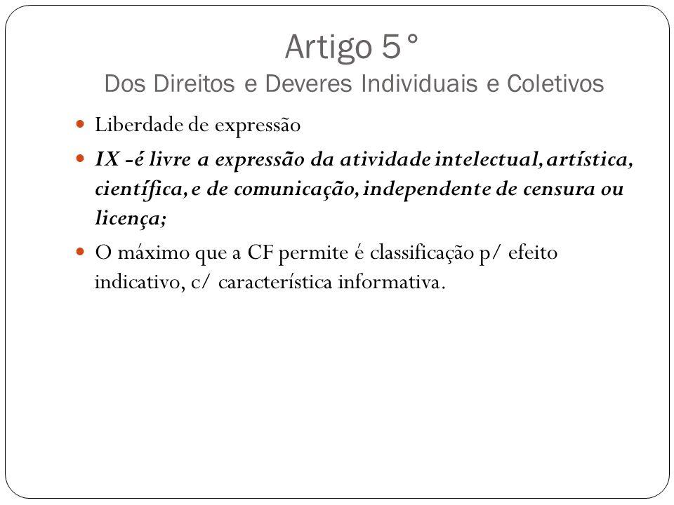 Artigo 5° Dos Direitos e Deveres Individuais e Coletivos Liberdade de expressão IX -é livre a expressão da atividade intelectual, artística, científic