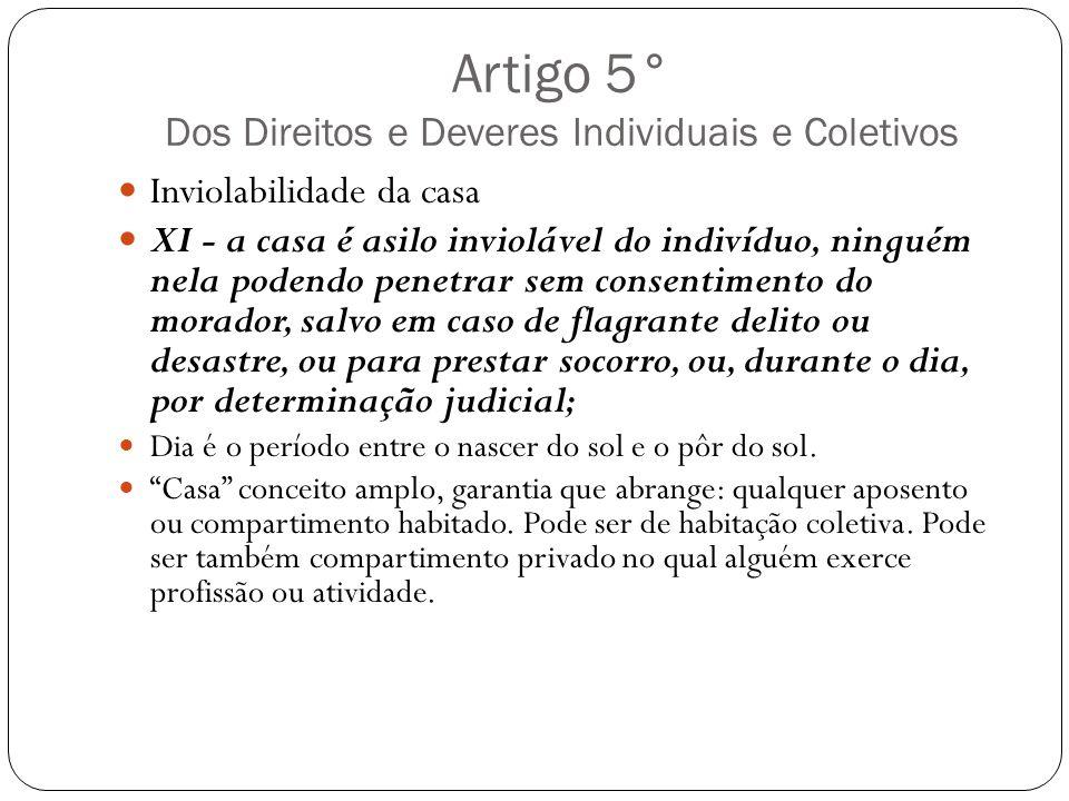 Artigo 5° Dos Direitos e Deveres Individuais e Coletivos Inviolabilidade da casa XI - a casa é asilo inviolável do indivíduo, ninguém nela podendo pen
