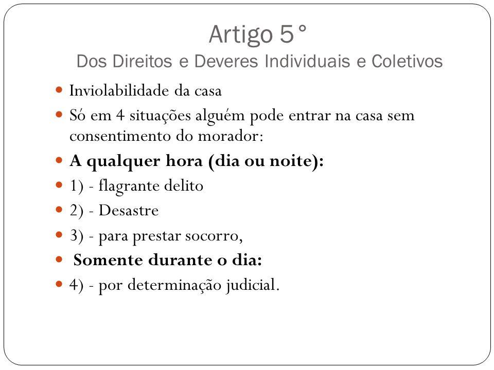 Artigo 5° Dos Direitos e Deveres Individuais e Coletivos Inviolabilidade da casa Só em 4 situações alguém pode entrar na casa sem consentimento do mor