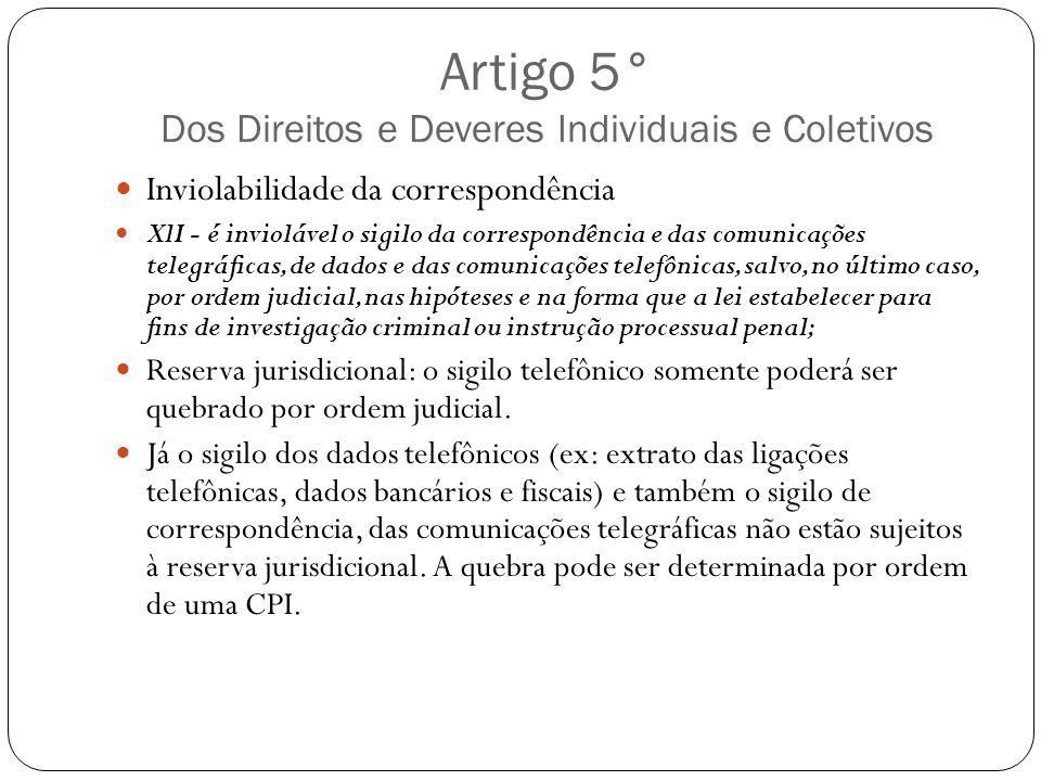 Artigo 5° Dos Direitos e Deveres Individuais e Coletivos Inviolabilidade da correspondência XlI - é inviolável o sigilo da correspondência e das comun
