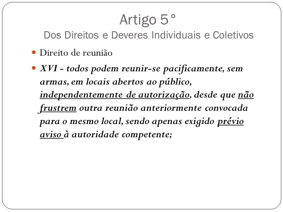 Artigo 5° Dos Direitos e Deveres Individuais e Coletivos Direito de reunião XVI - todos podem reunir-se pacificamente, sem armas, em locais abertos ao