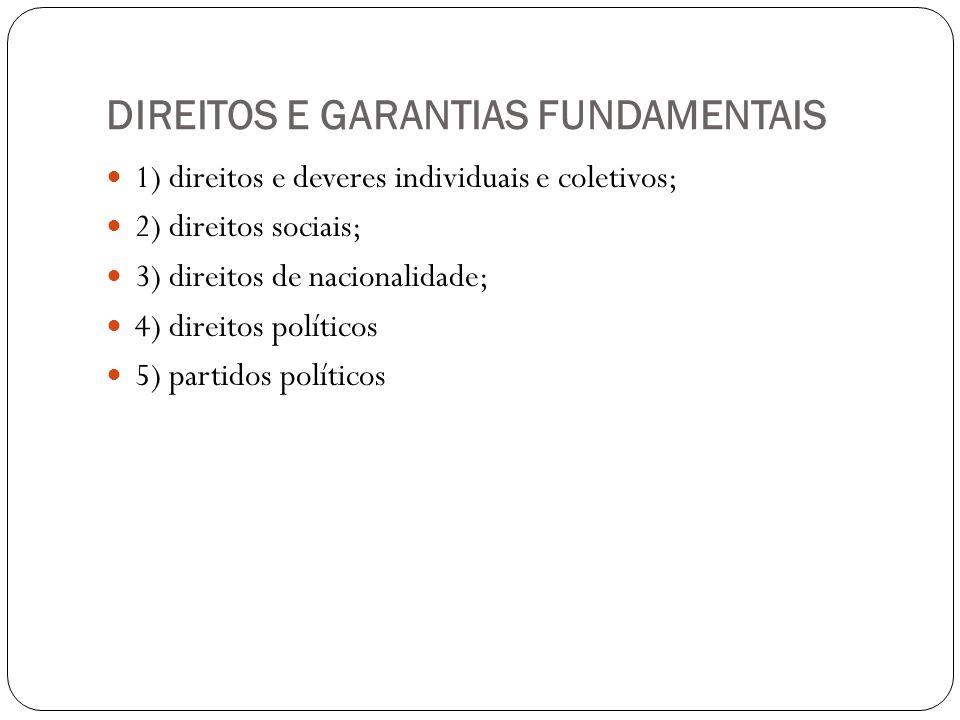 DIREITOS E GARANTIAS FUNDAMENTAIS 1) direitos e deveres individuais e coletivos; 2) direitos sociais; 3) direitos de nacionalidade; 4) direitos políti