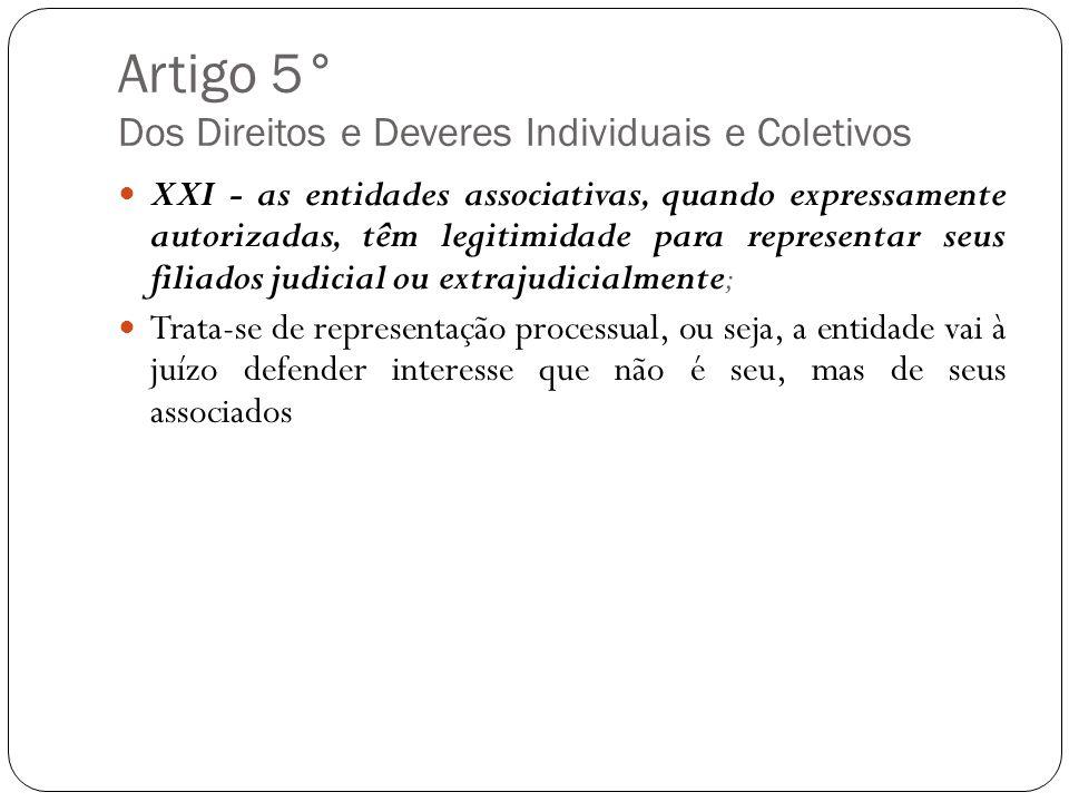 Artigo 5° Dos Direitos e Deveres Individuais e Coletivos XXI - as entidades associativas, quando expressamente autorizadas, têm legitimidade para repr