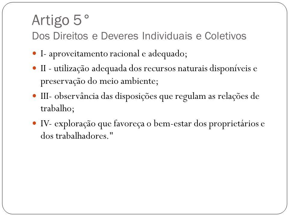 Artigo 5° Dos Direitos e Deveres Individuais e Coletivos I- aproveitamento racional e adequado; II - utilização adequada dos recursos naturais disponí