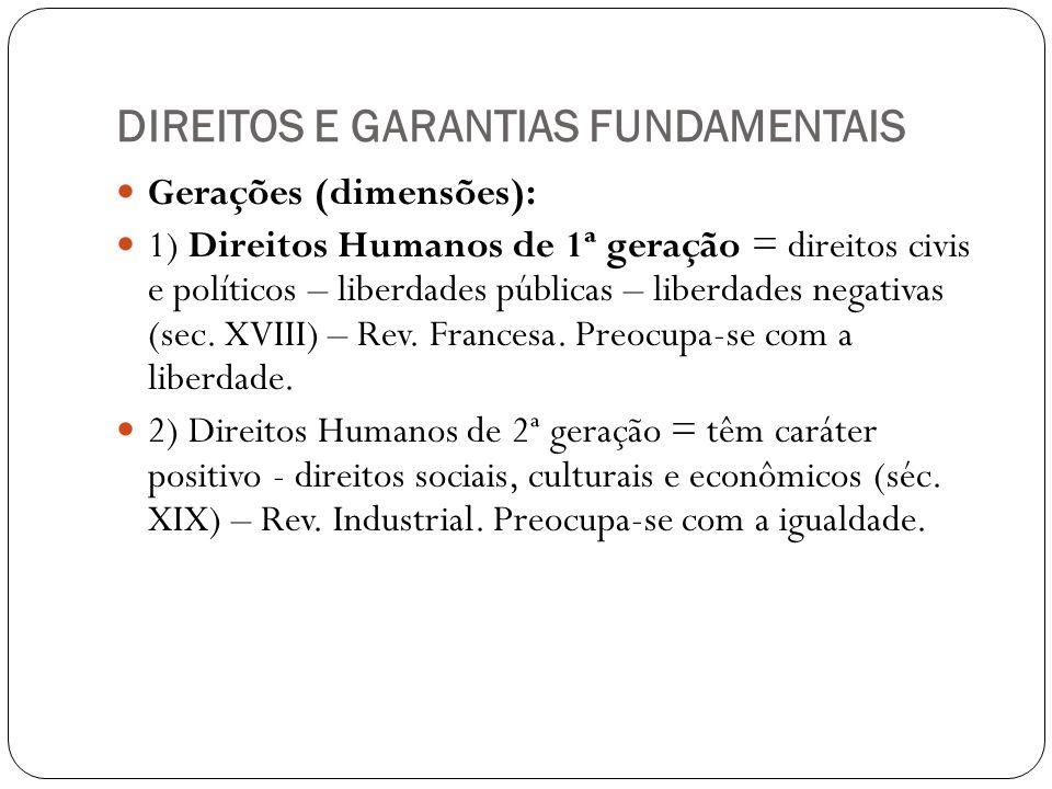 DIREITOS E GARANTIAS FUNDAMENTAIS Gerações (dimensões): 1) Direitos Humanos de 1ª geração = direitos civis e políticos – liberdades públicas – liberda