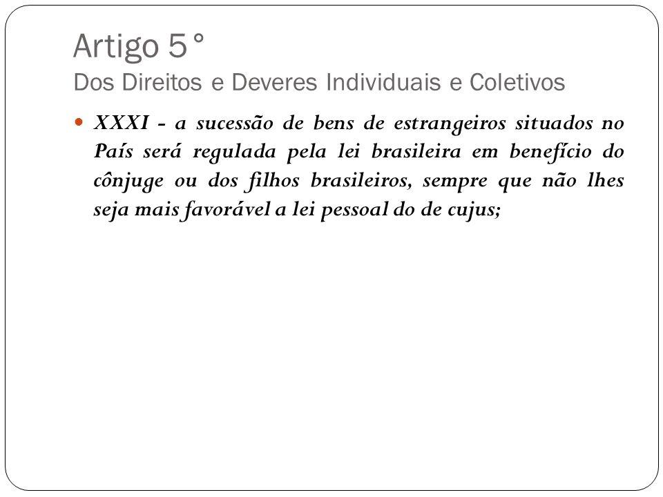 Artigo 5° Dos Direitos e Deveres Individuais e Coletivos XXXI - a sucessão de bens de estrangeiros situados no País será regulada pela lei brasileira