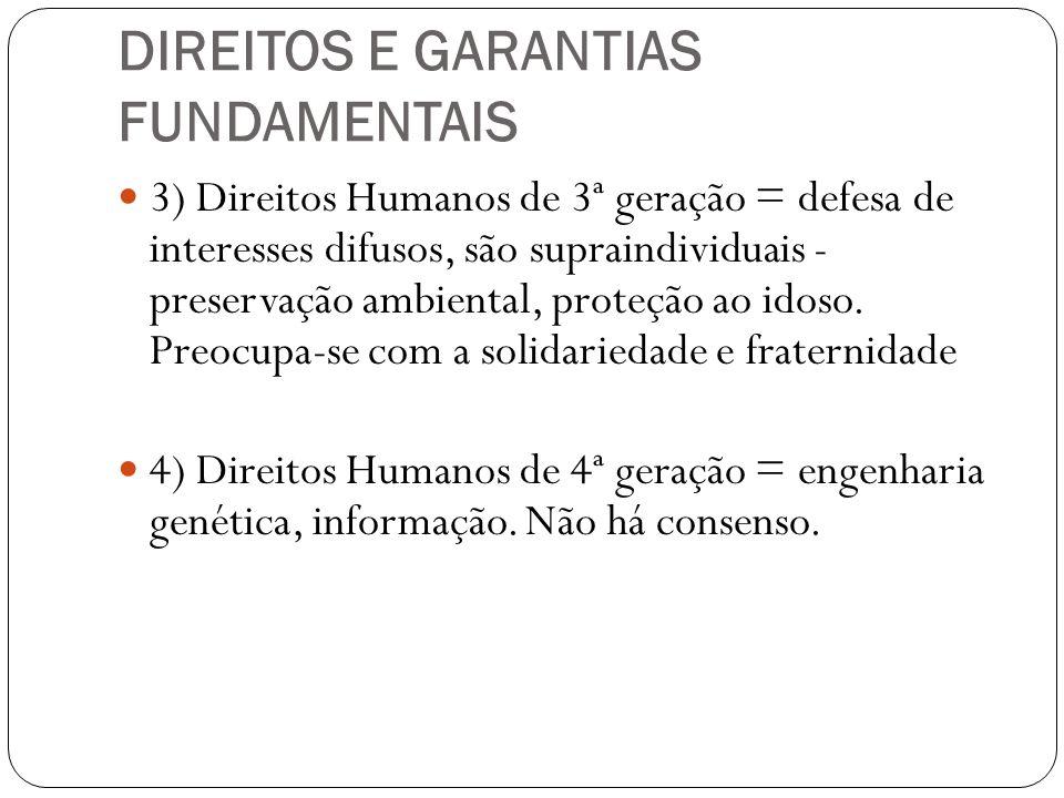 DIREITOS E GARANTIAS FUNDAMENTAIS 3) Direitos Humanos de 3ª geração = defesa de interesses difusos, são supraindividuais - preservação ambiental, prot