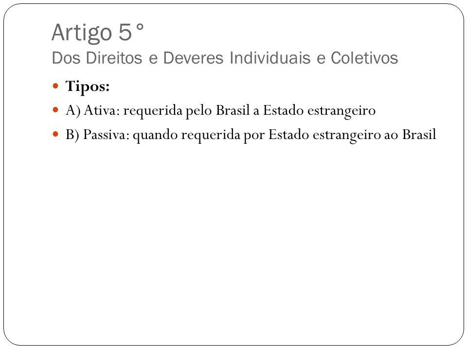 Artigo 5° Dos Direitos e Deveres Individuais e Coletivos Tipos: A) Ativa: requerida pelo Brasil a Estado estrangeiro B) Passiva: quando requerida por